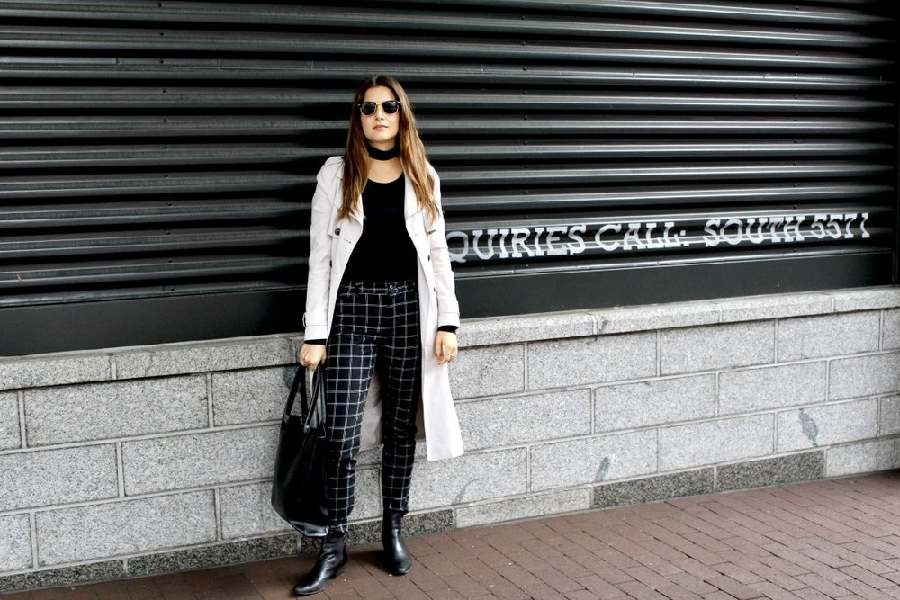 TOP:  GAP  / WINDOW PANE PLAID PANTS:  GAP   [SIMILAR]  / TRENCH: FOREVER 21  [SIMILAR]  / SUNGLASSES: MY MOM'S VINTAGE  [SIMILAR]  / BLACK TOTE: BCBG  [SIMILAR]  / BOOTIES:  NINE WEST   [SIMILAR]  / NAIL POLISH:  ZOYA IN LIVINGSTON