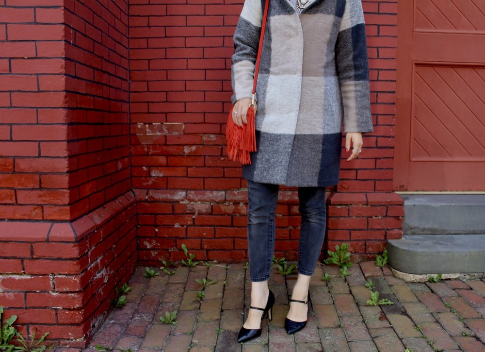 STRAPPY HEELS / CROPPED JEANS / PLAID COAT / RED FRING REBECCA MINKOFF BAG / NICOLEMCARUSO.COM