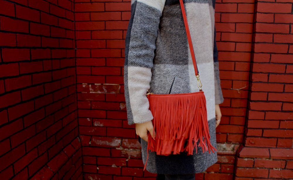 RED FRINGE SUEDE BAG / PLAID COAT / REBECCA MINKOFF BAG / NICOLEMCARUSO.COM