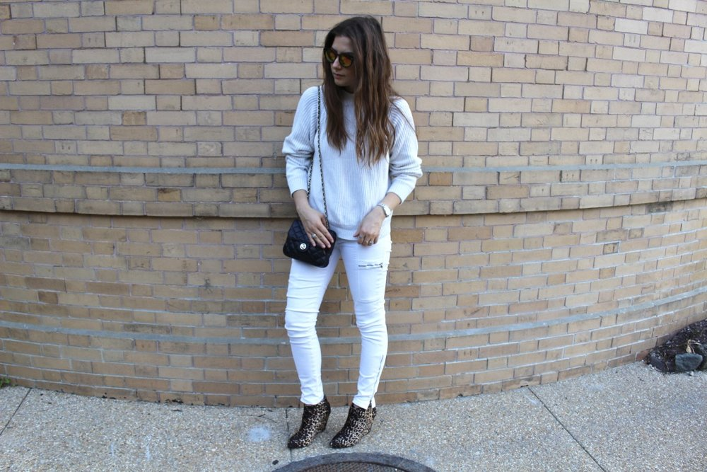 WINTER WHITE / FALL STYLE / DC / WHITE ON WHITE / LEOPARD BOOTIES / NICOLEMCARUSO.COM