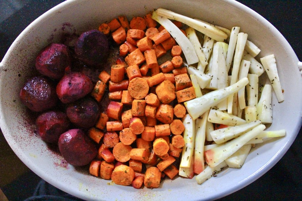 ROASTED ROOT VEGETABLES:  BEETS WITH BALSAMIC AND OREGANO, CARROTS WITH THYME, AND PARSNIPS WITH DILL.  TRY THEM!  DRIZZLE WITH AVOCADO OIL, THEN BAKE FOR 40 MINS ON 400 DEGREES F OR UNTIL FORK TENDER.