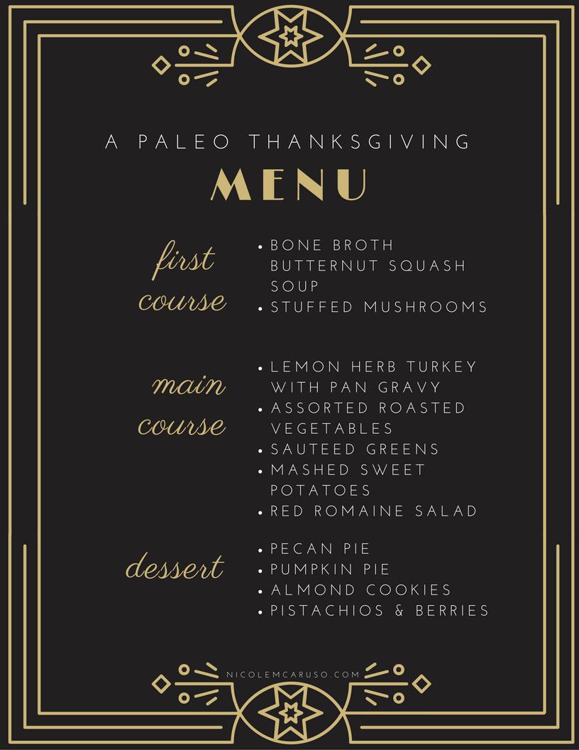 PALEO THANKSGIVING MENU / FOOD / NICOLEMCARUSO.COM