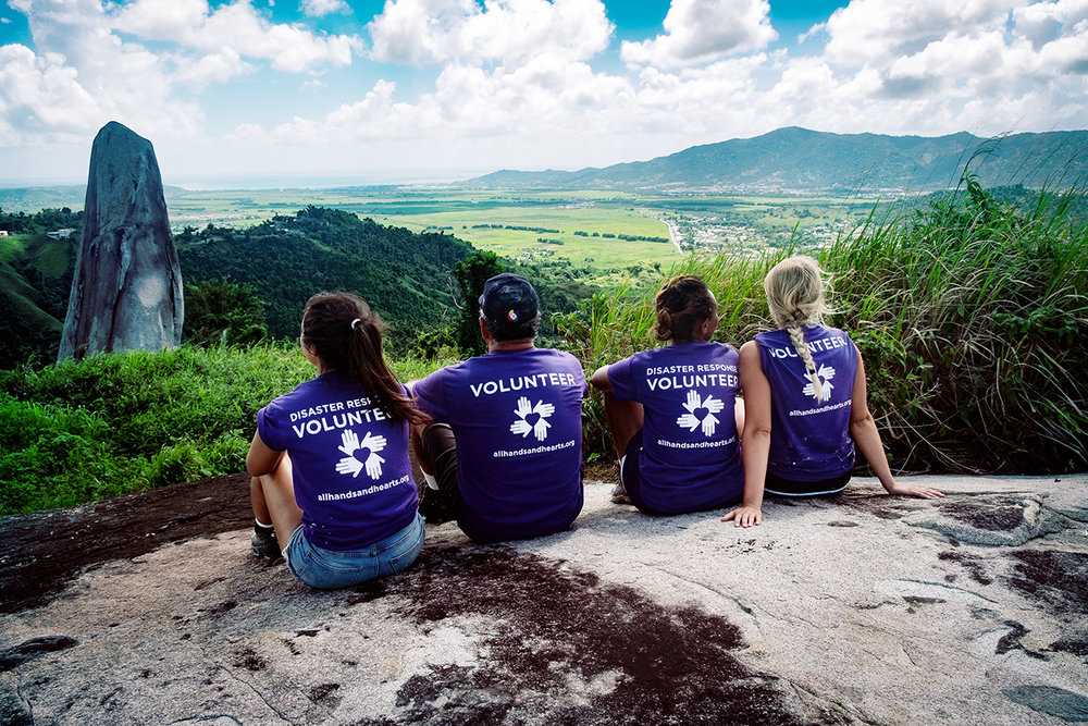 Volunteers Ely, Charlito, Fanan and Lauren. The view of Yabucoa valley.