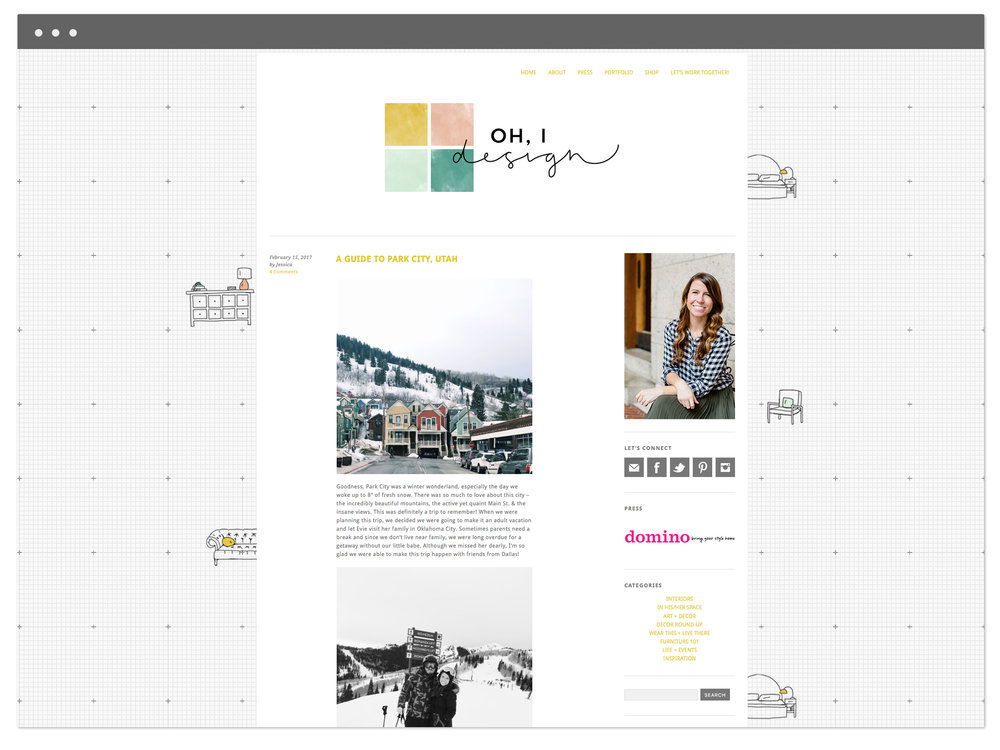 Jessica's previous site design – by The Business Bar