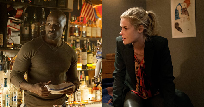 Luke Cage on the left and Trish Walker (Hellcat in the comics) on the right.  Expect to see Luke in his solo series sometime in 2016.