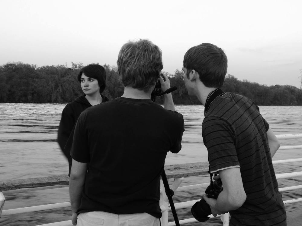 "Shooting ""Fine"" - star Lindsay Kay, director C.B. Jacobson and cameraman Corey Smith (photo by Joe Barden)"