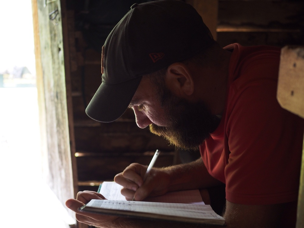 It was the last hut! Lots of emotional comments in the hut book. Tom adding some of his own thoughts on the trail.