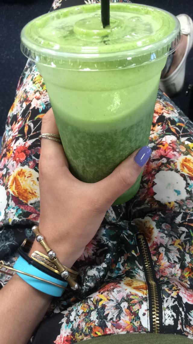 After a 30 mile bike ride and a huge omelet for breakfast - this green smoothie HIT THE SPOT when I got to the airport. I couldn't stop eating all day.
