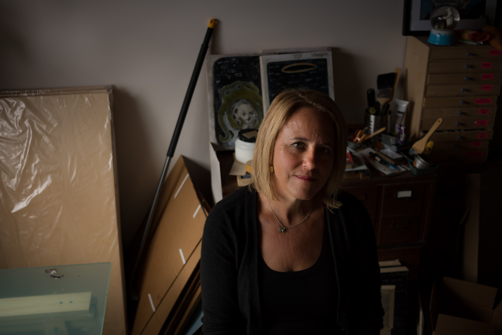 Picture book author-illustrator and fine artist Jennifer Goldfinger in her studio