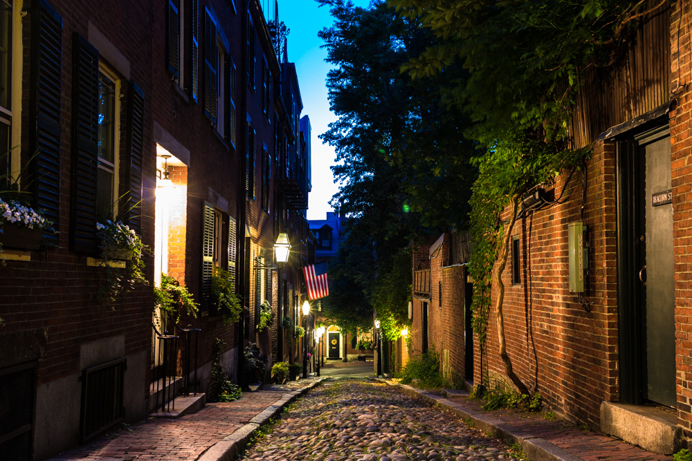 Acorn Street is considered one of the most-photographed streets in America. No surprise as it looks, for the most part, just as it did 200 years ago. The cobblestone streets are considered the last true cobblestones of Boston.