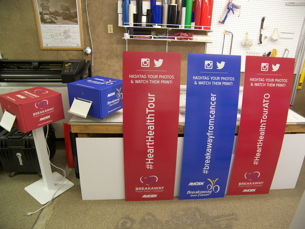 These event signs and graphics were for Photoboxx based in Spokane.  They were shipped to an event in California.  Two vehicle wrapped hashtag printers with three double sided corex signs.  These signs traveled with a bike race group to raise awareness about heart health and cancer.