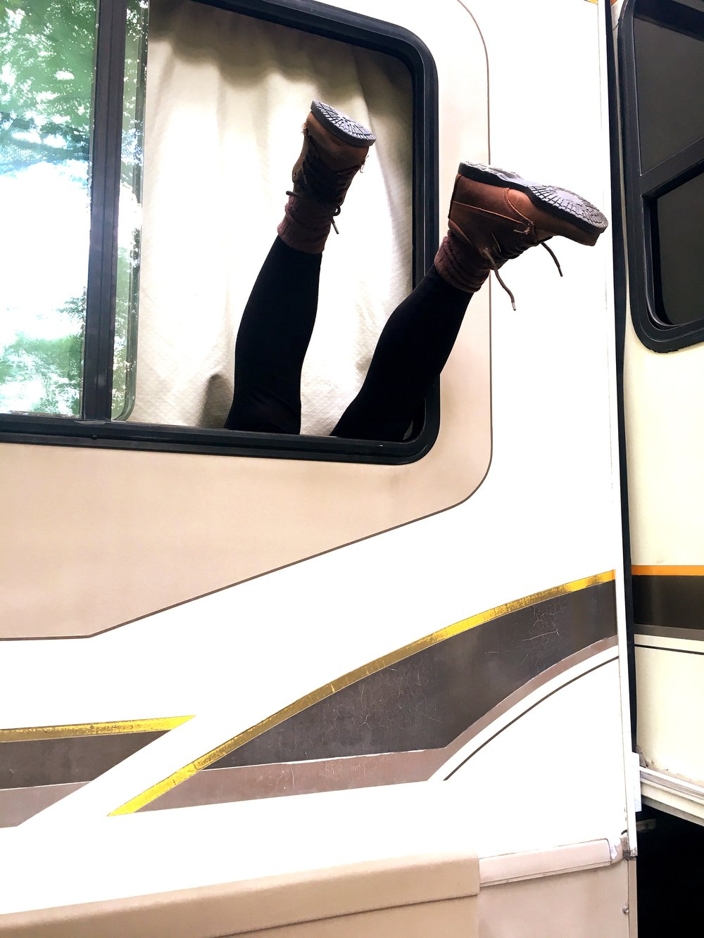 Abrielle heroically climbed in the window of our RV after getting locked out.
