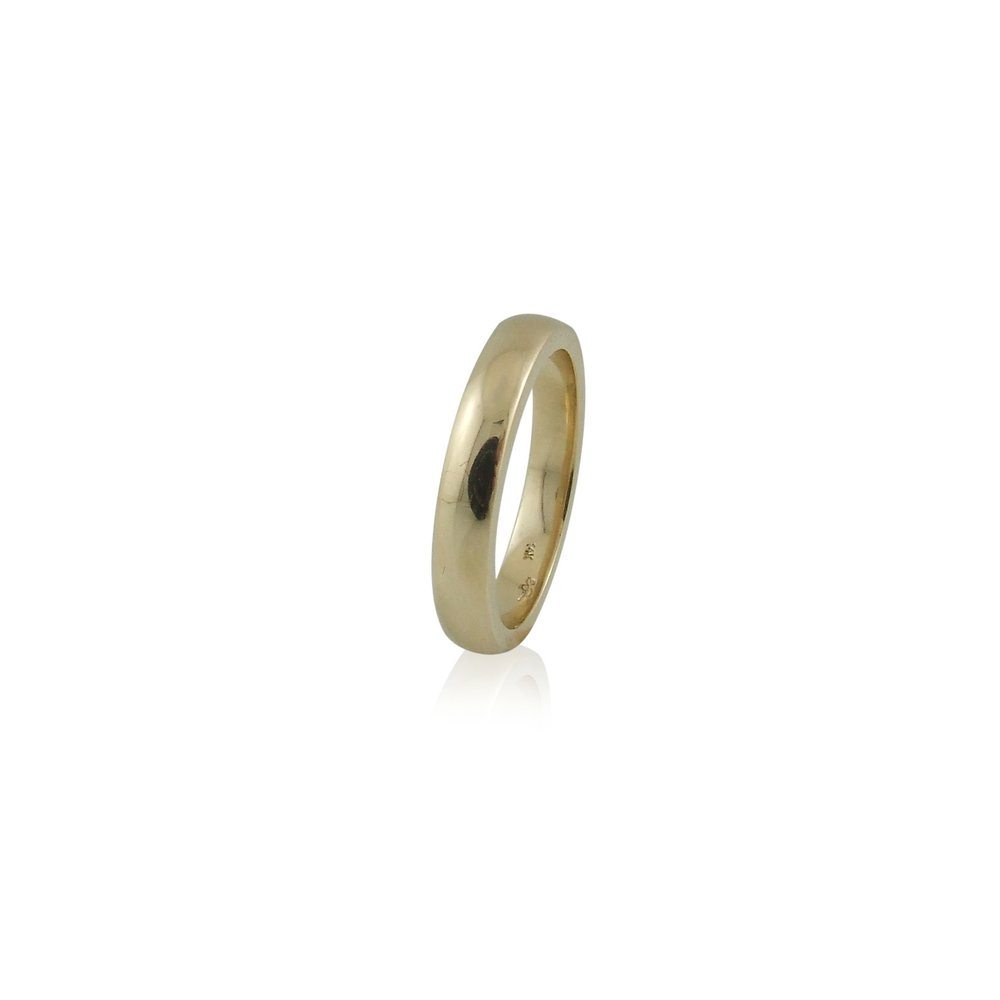 14k yellow gold low dome wedding band