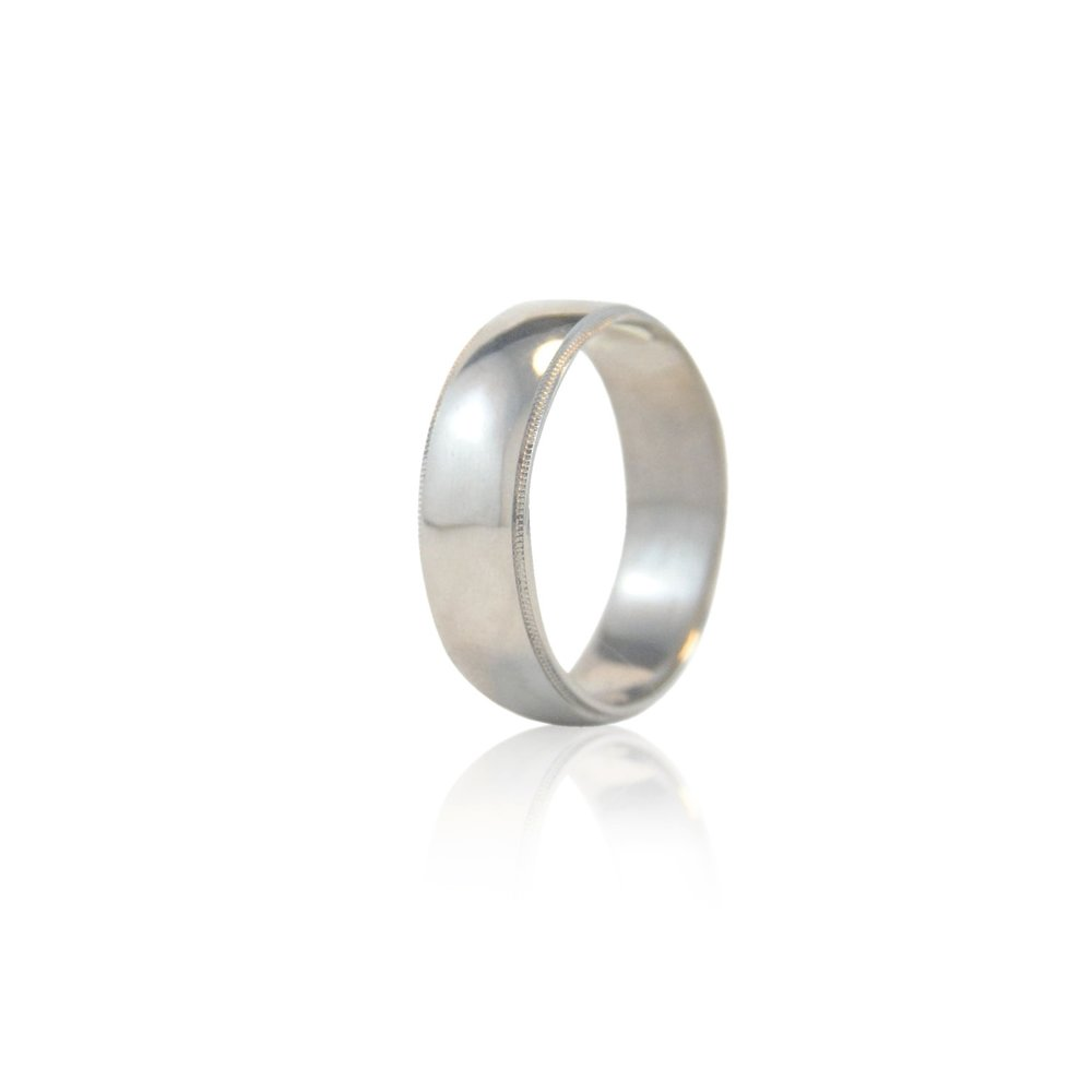 18k Palladium White Gold double milgrain wedding band