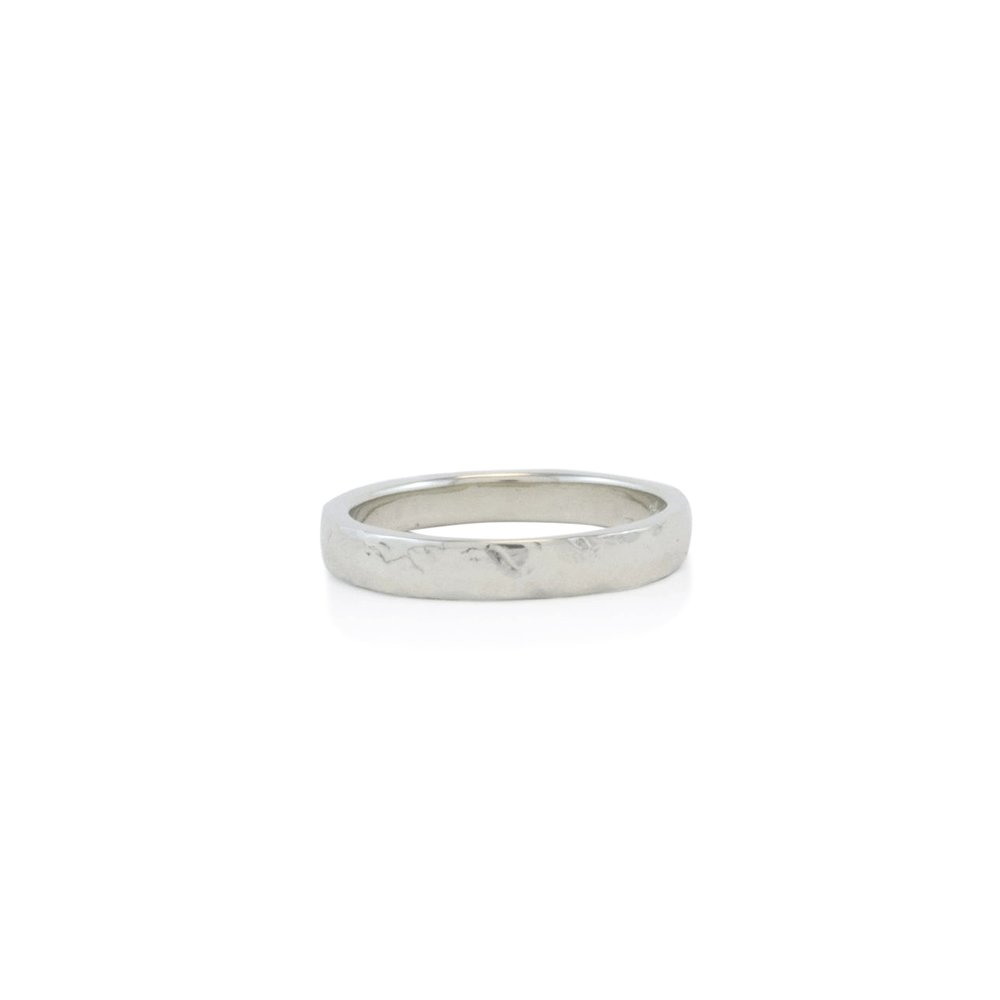 14k white gold hammered wedding band