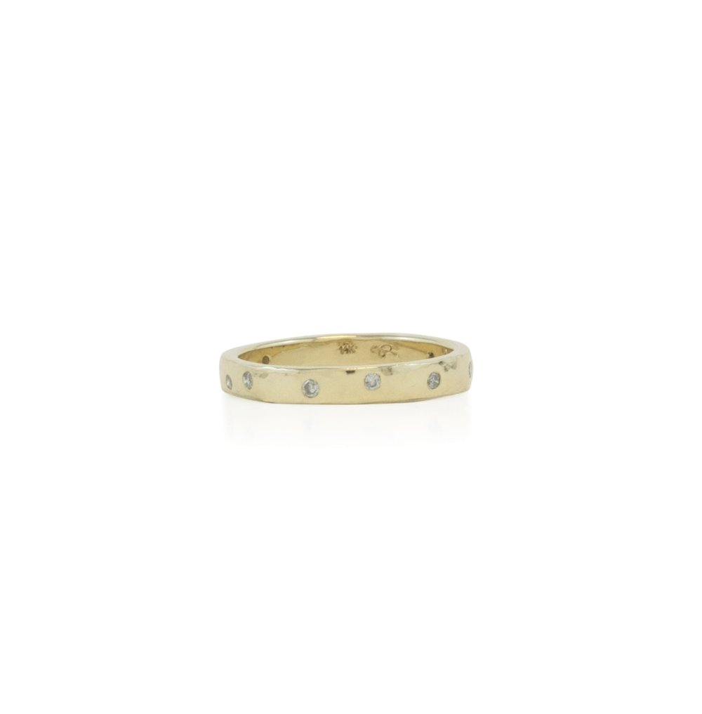 14k yellow gold hammered wedding band with diamonds