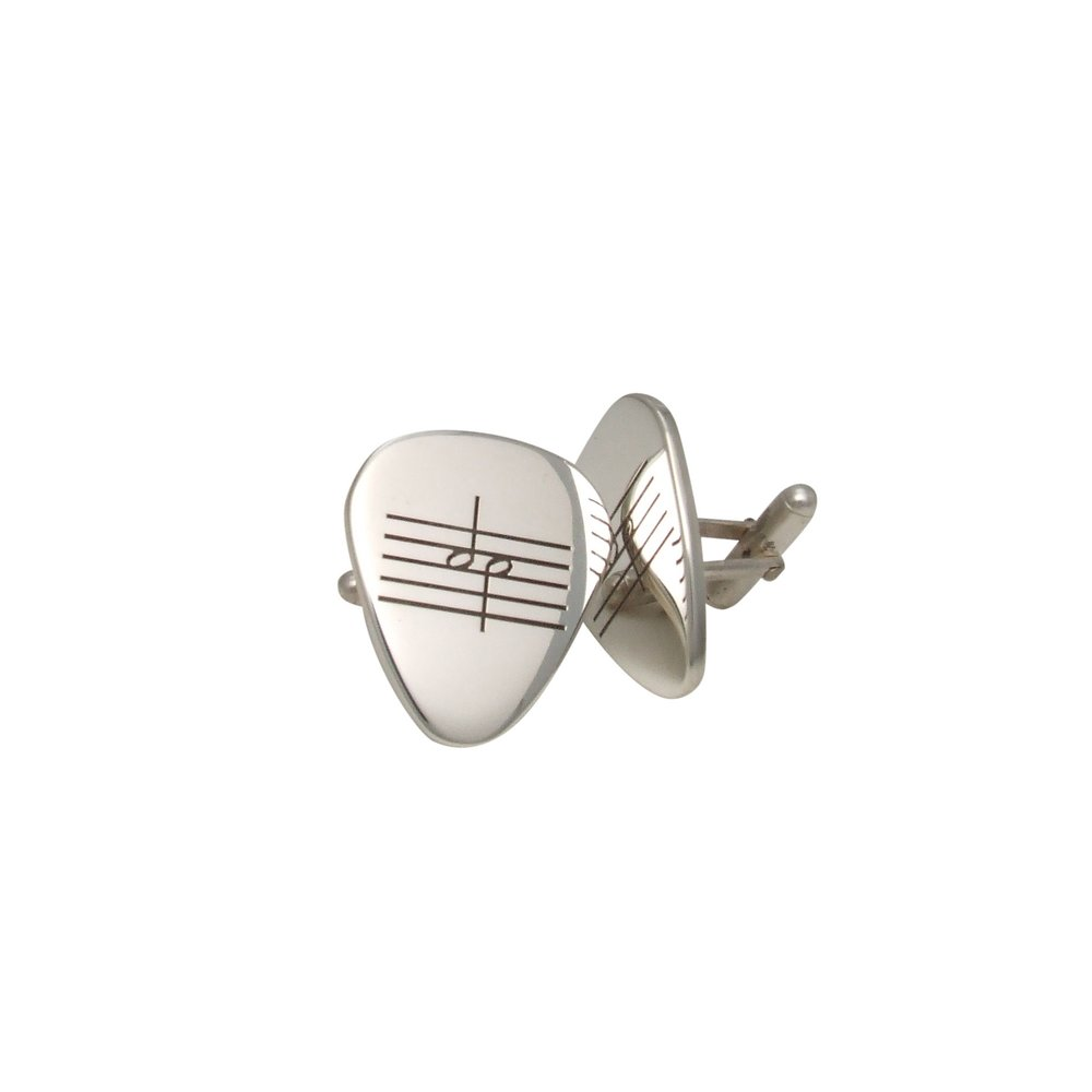 Sterling Silver Half Note Guitar Pick Cufflinks