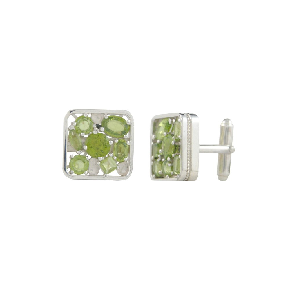 Sterling Silver and Peridot Cufflinks
