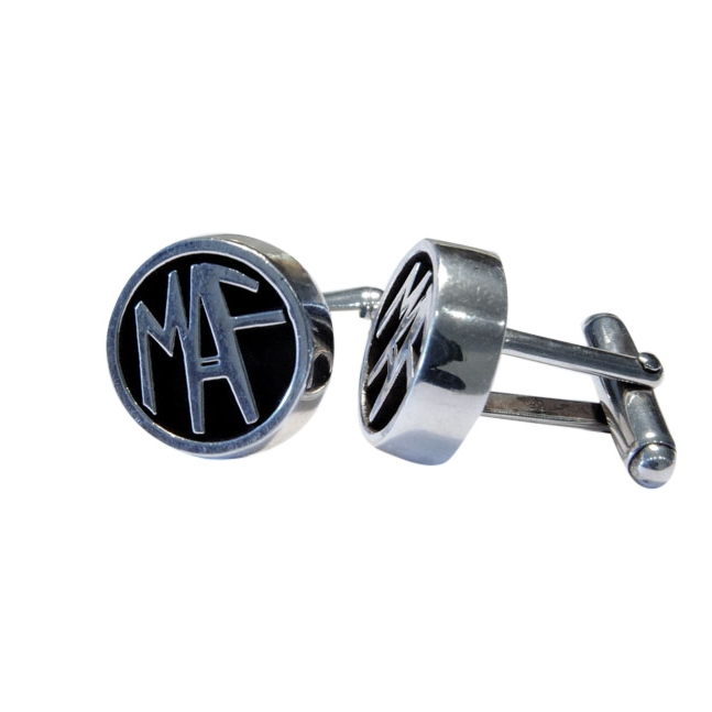 Sterling Silver & Oxidized Silver Signet Cufflinks