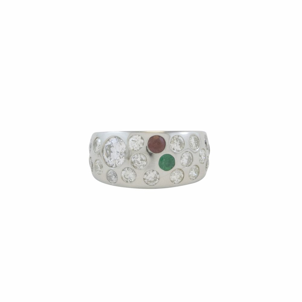 14k white gold family ring with diamonds, emerald and garnet