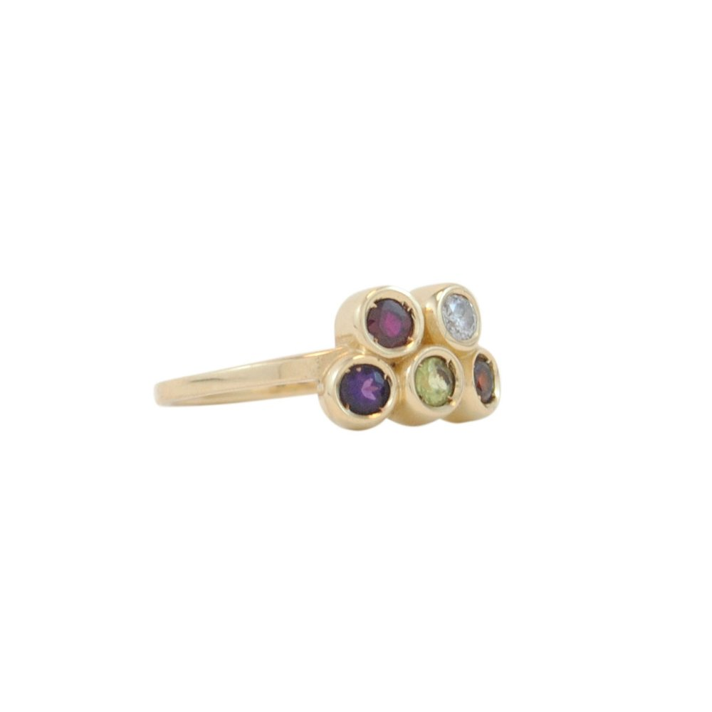 14k yellow gold family ring with Amethyst, Garnet, Peridot, Diamond and Ruby