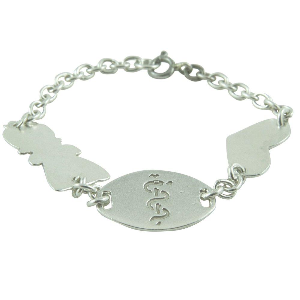 Sterling Silver Medical Alert Bracelet. Name & Address (not shown) on girl & heart