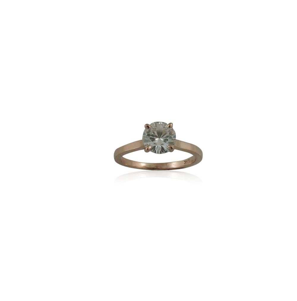 Forever One 6.5mm Round Moissanite set in 14k Rose Gold