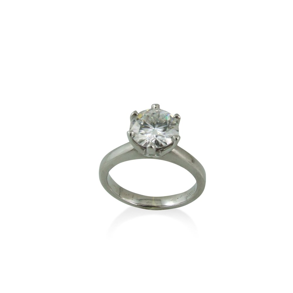 Forever One 8mm Round Moissanite set in Palladium