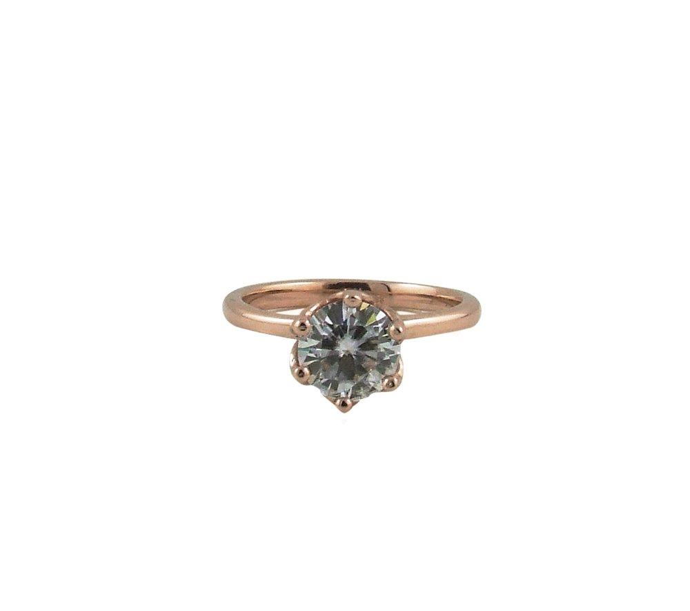 6.5mm Moissanite Rose Gold Solitaire