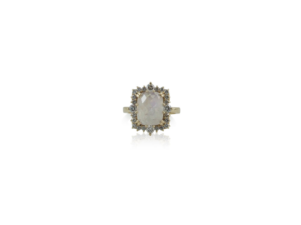 Cushion Cut Moonstone with diamond halo