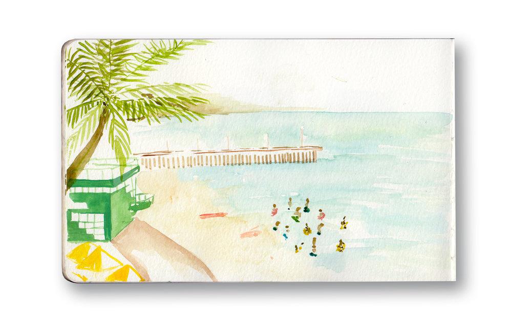 "Durban Beach Front - Durban, sa  Watercolor & Gouache - MOleskine Sketchbook 5 x 8.25"""