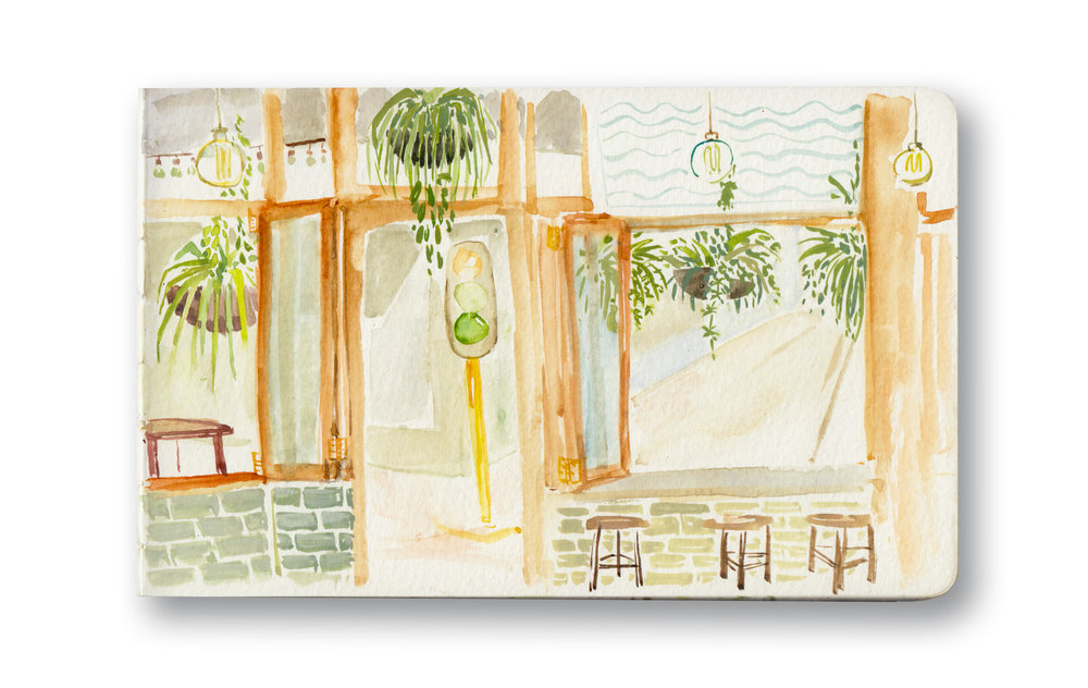 "Yours Truly, Long St - Cape Town, sa  Watercolor & Gouache - MOleskine Sketchbook 5 x 8.25"""