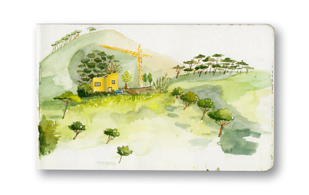 """the Yellow House on signal hill - Cape town, Sa  Watercolor & Gouache - MOleskine Sketchbook 5 x 8.25"""""""