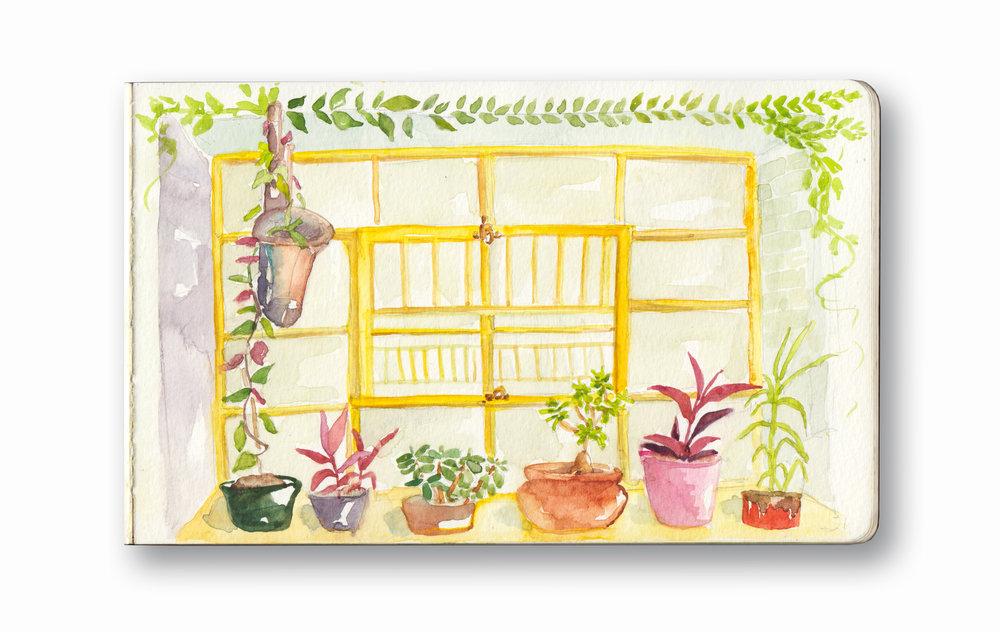 "Curiocity Hostel  - Joburg, SA  Watercolor & Gouache - MOleskine Sketchbook 5 x 8.25"""