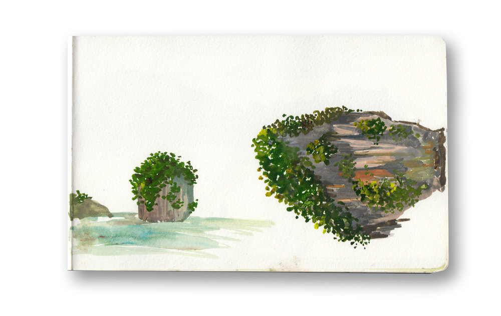"""View From Chicken Island - Railay, Thailand  I Met  about 20  people, all Couples from Utah who were so funny and Nice, we went on this day trip together.  Watercolor & Gouache - MOleskine Sketchbook 5 x 8.25"""""""