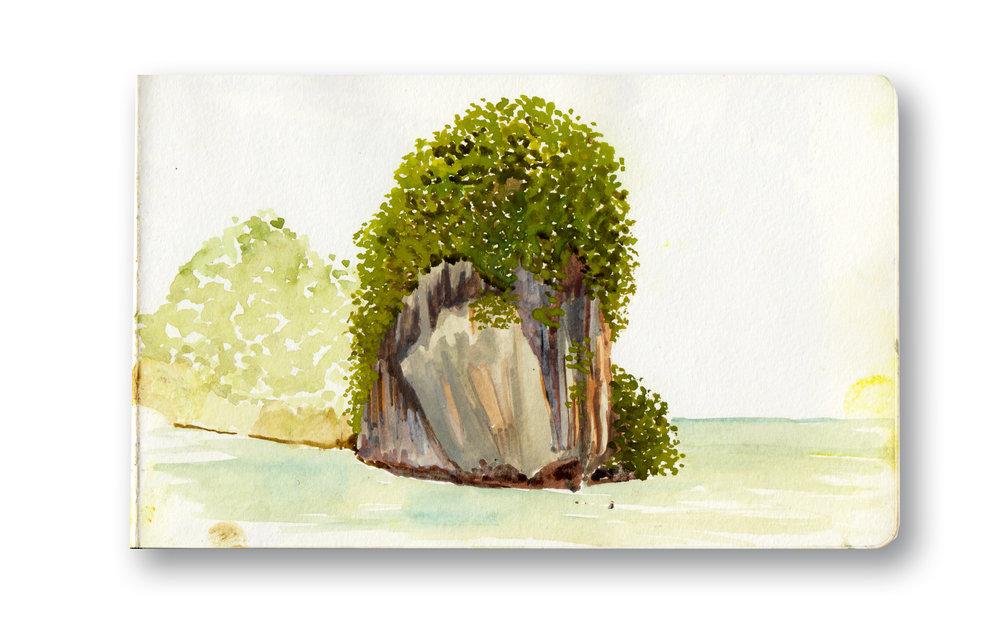 "View From Railay Beach - Railay, Thailand  Watercolor & Gouache - MOleskine Sketchbook 5 x 8.25"""