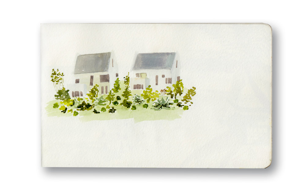 """New Houses, View From Norval Foundation - Constantia, Cape Town, Sa  Watercolor & Gouache - MOleskine Sketchbook 5 x 8.25"""""""