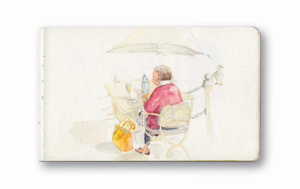 "Woman Having Her Lunch - V&a MArina, Cape Town, Sa  Watercolor & Gouache - MOleskine Sketchbook 5 x 8.25"""