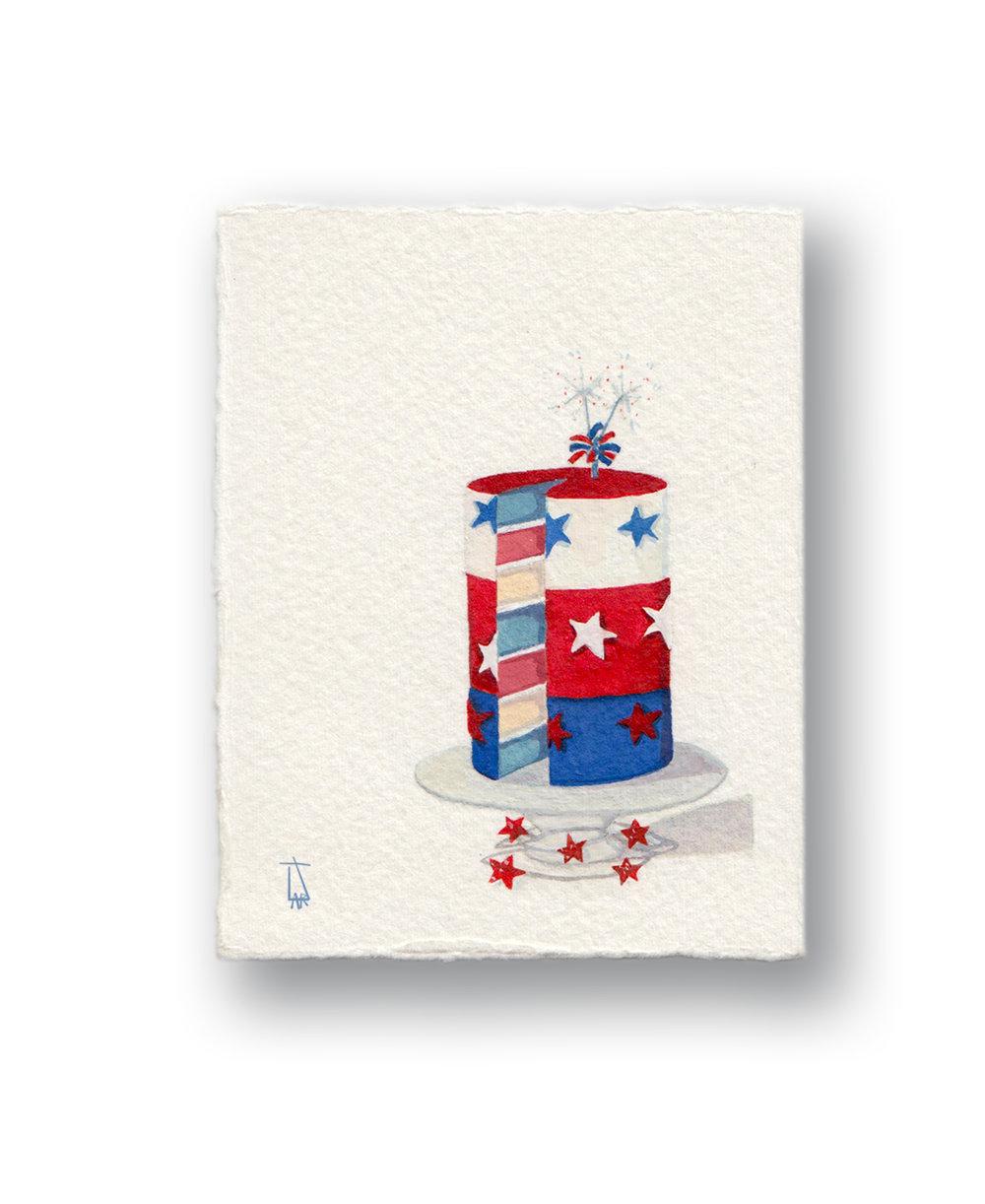 "Red White & Blue Cake  Gouache 2.5 x 3"""