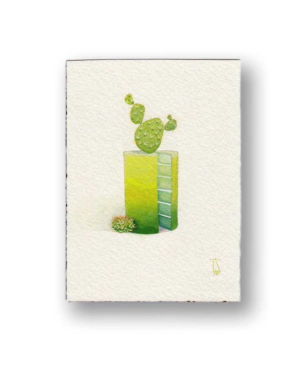 "Cactus Cake    Gouache 2.5 x 4"""