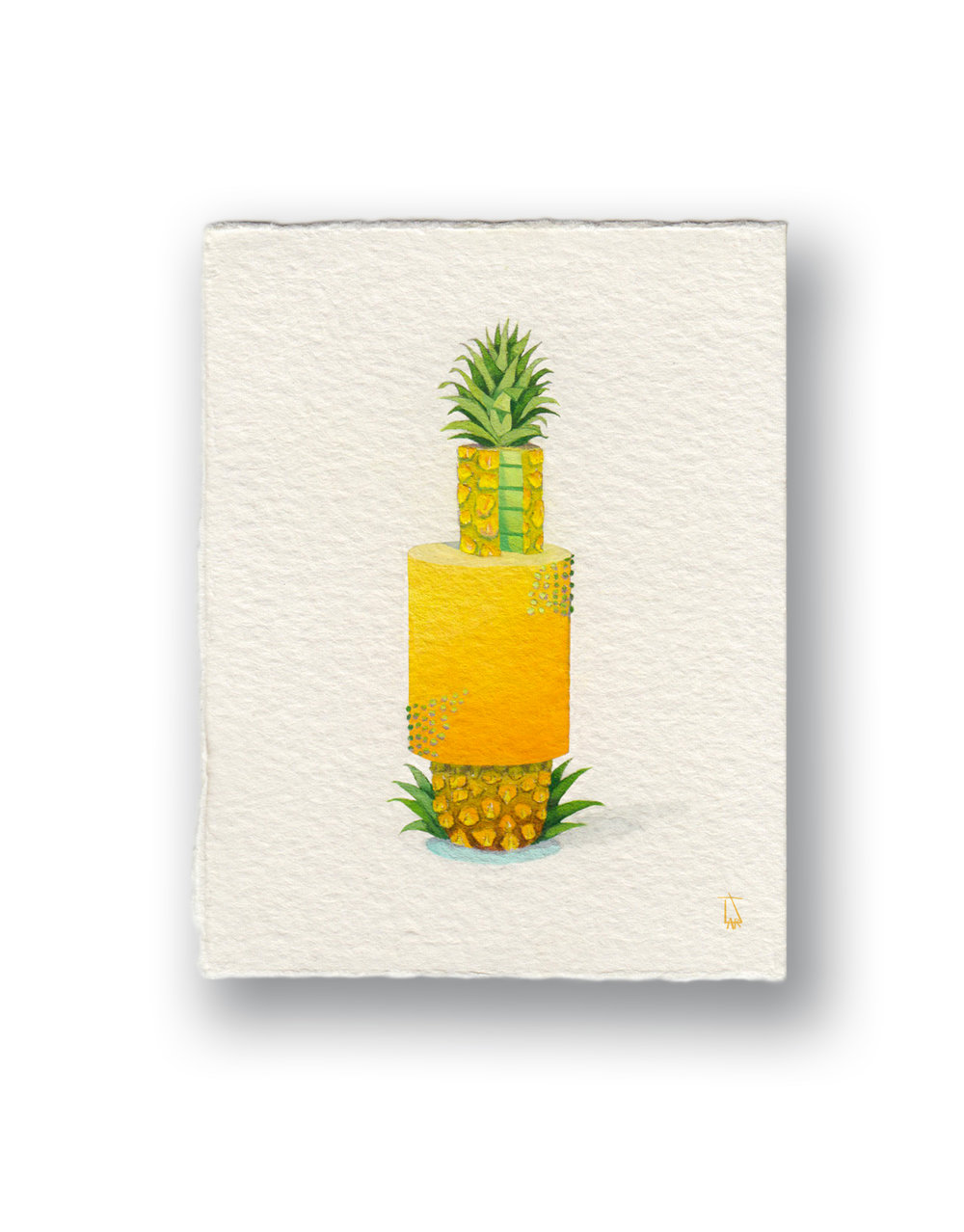 "PineApple Cake  Gouache 3 x 4"""