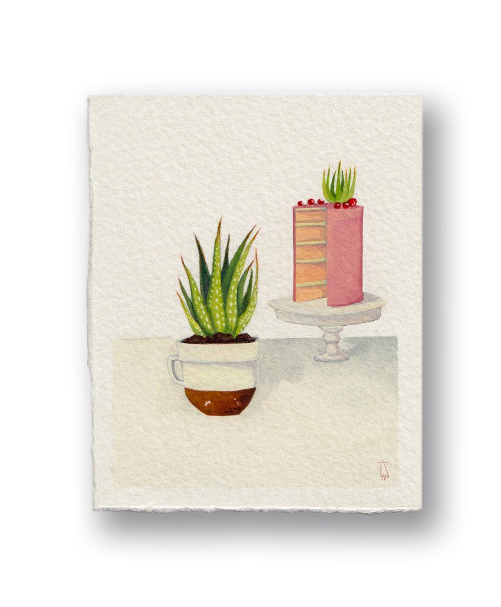 "Succulent & Cake  Gouache 3 x 4"""