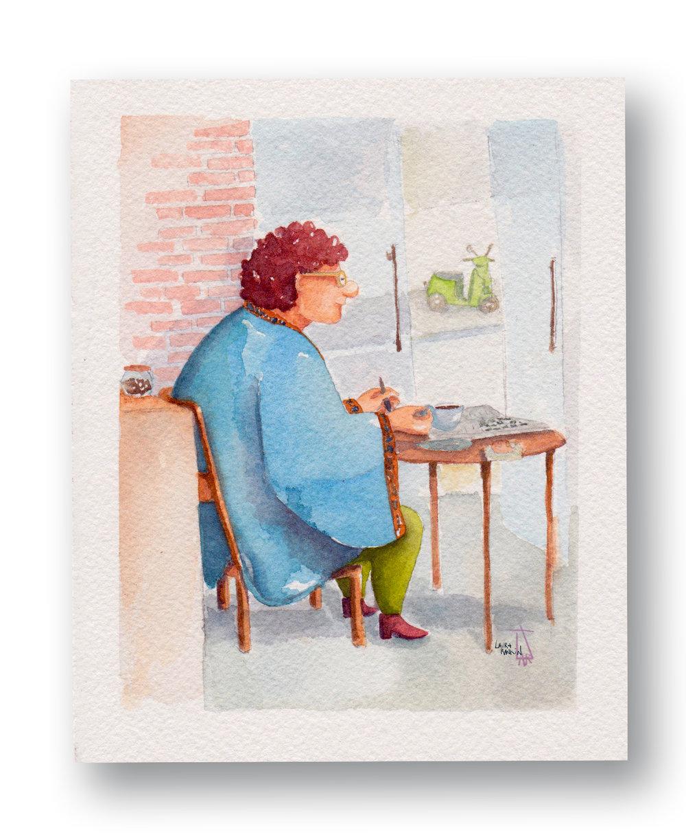 "Woman Having Coffee - Origin Coffee, Cafe Cape tOwn, SA  Watercolor & Gouache 4 x 6"""