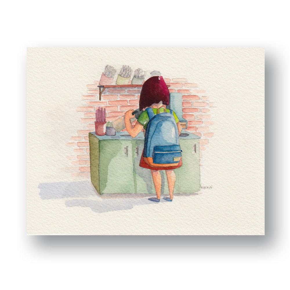 "Takeaway Coffee - New York  Watercolor & Gouache 4 x 3"""