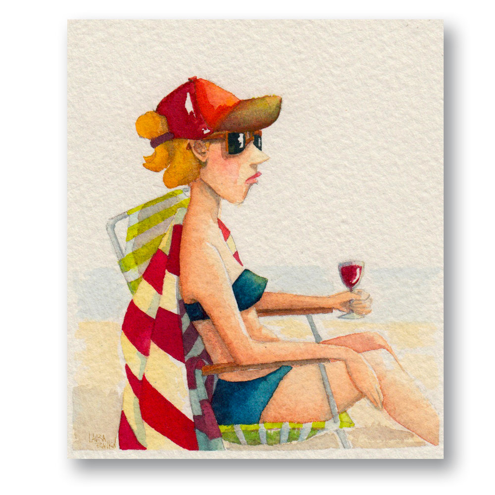 """Lady on the Beach - New york  Watercolor 3 x 4"""""""