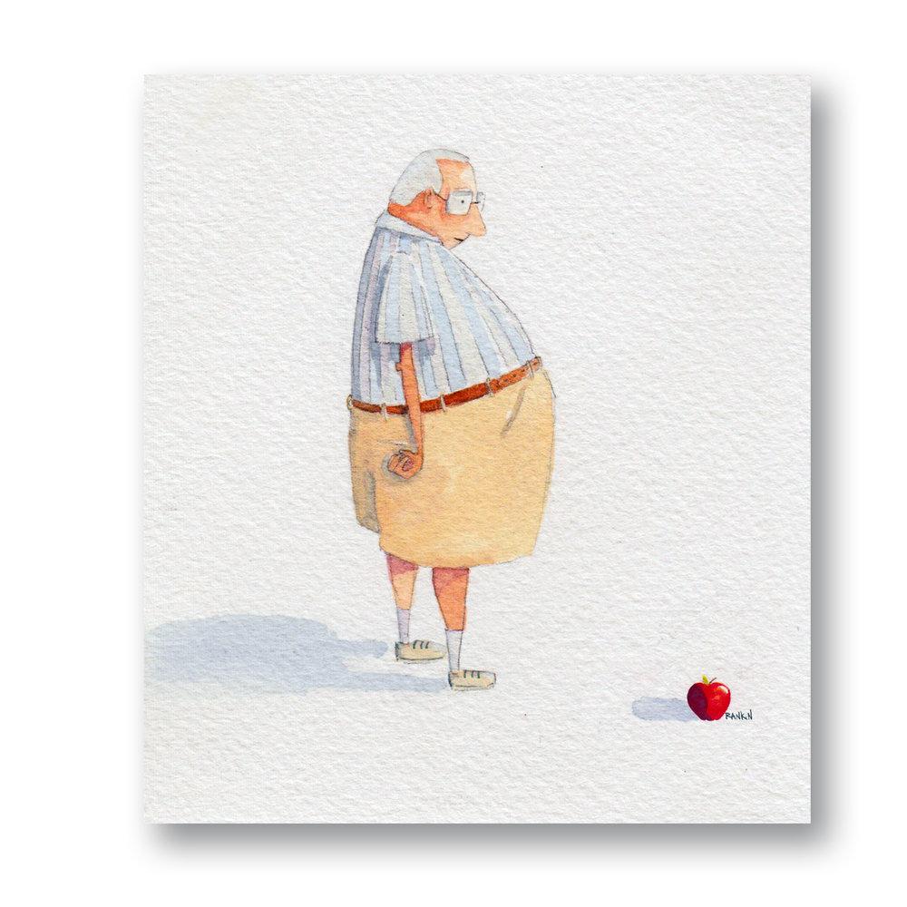 "Old man & Apple  Watercolor 4 x 5"""