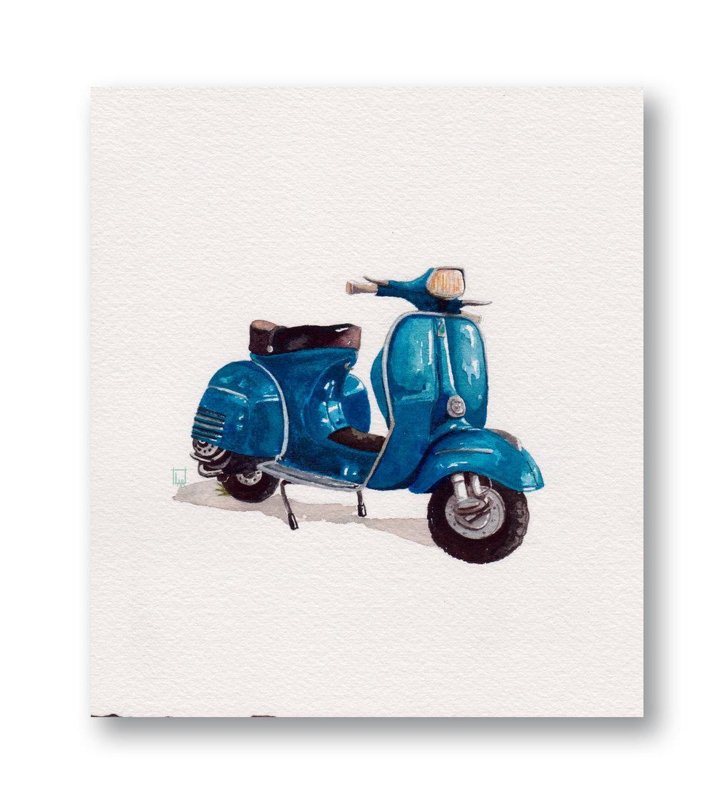 """40's Blue Vespa  Gouache & Watercolor 6 x 7"""""""