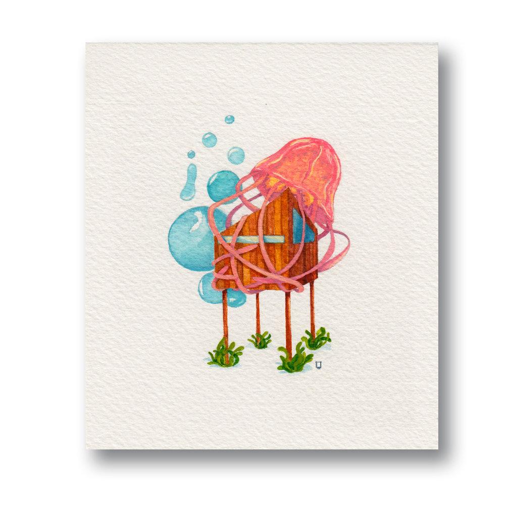 "Jelly House  Gouache & Watercolor 3 x 4"""