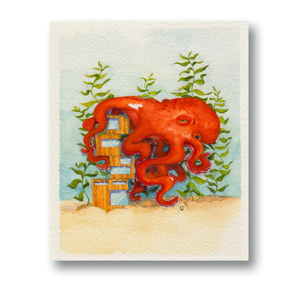 """Octo House  Gouache & Watercolor 4 x 5"""""""