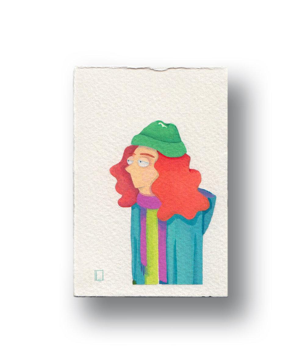 """Winter Girl  Gouache & Watercolor  1.5 x 2.5"""""""